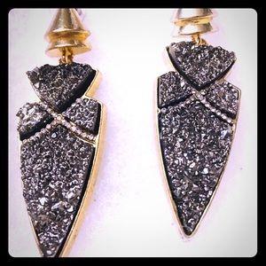 Jewelry - Gold & Black Druzy Drop Earrings